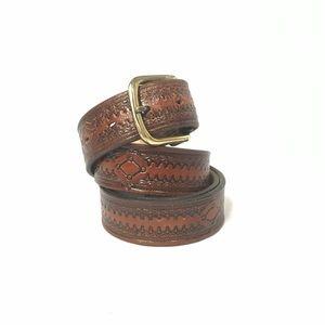 Vintage Tooled Leather belt Size 42
